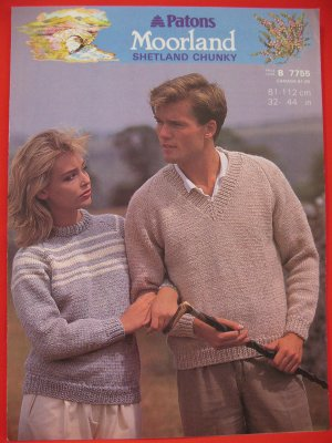 "Patons Moorland Shetland Chunky Sweater Vintage Knitting Patterns Adults Sizes 32"" - 44"""