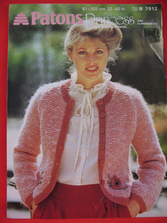 Girls Free Knitting Patterns : Patons Ladys Jacket Sweater Vintage Knitting Patterns Ladies Sizes 32&qu...
