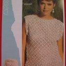 "Patons Lady's Slash Neck Sweater Top Vintage Crochet Pattern Ladies Sizes 32"" - 38"""