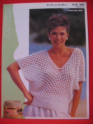 """Patons Lady's Simple V Neck Sweater Vintage Knitting Pattern Ladies Sizes 32"""" - 38"""""""
