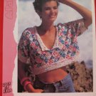 "Patons Lady's Short Sweater Rib Collar Knitting Pattern Ladies Sizes 32"" - 38"""