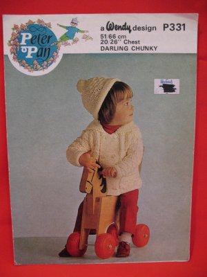 "Peter Pan Childs Jacket Cap Vintage Knitting Patterns Childs 20"" - 26"""