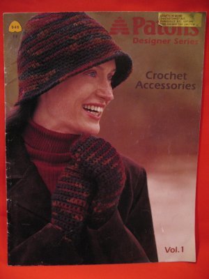 Patons Crochet Patterns Adults Designer Series Cloche Hat Mittens Purse Scarf etc