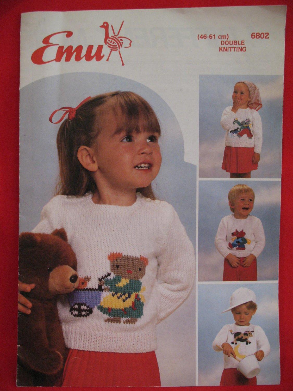 Emu Double Knitting Patterns Nursery Rhyme Sweaters Baby Children Sizes 46 - 61 CM.