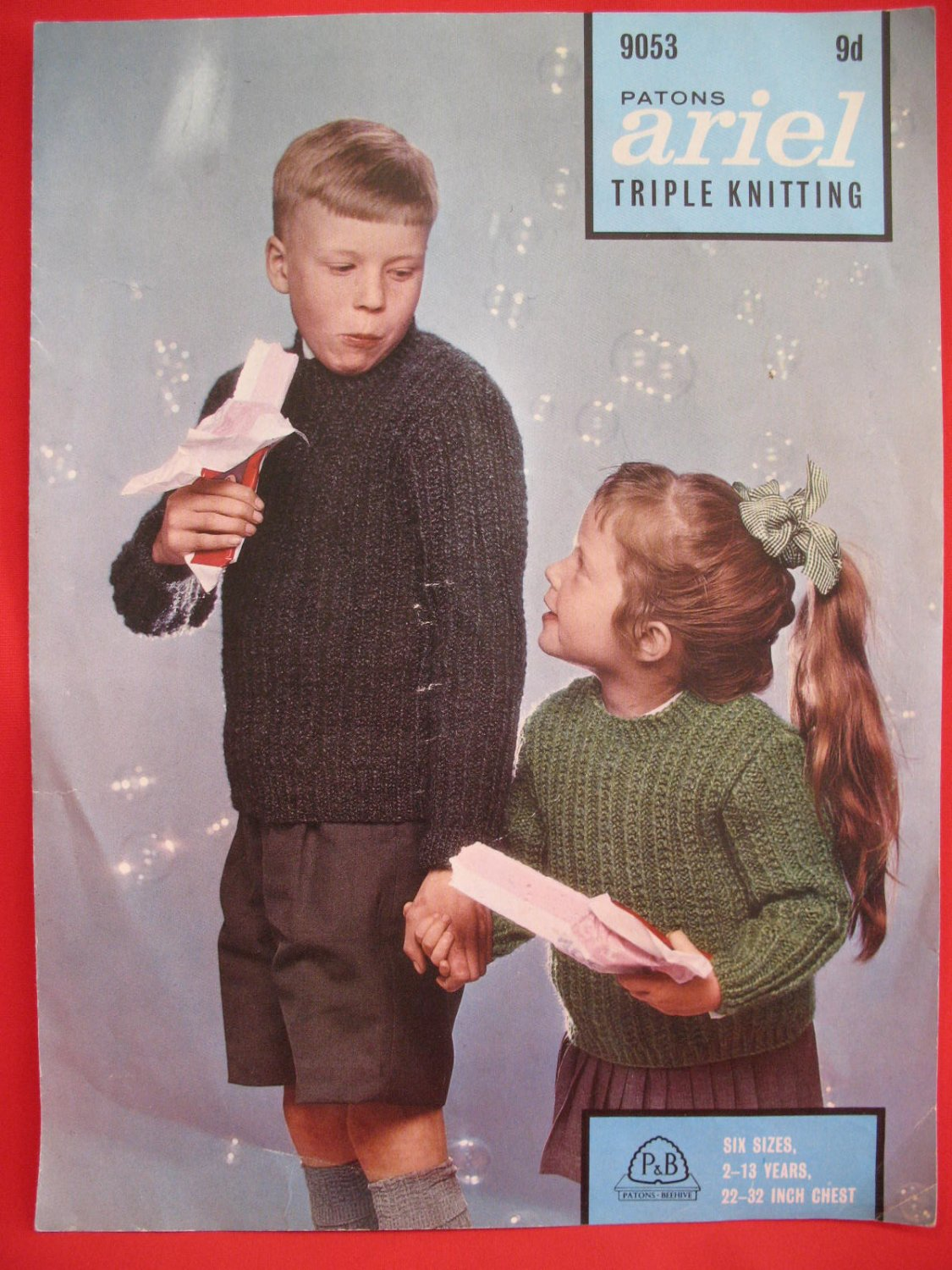 Patons Ariel Triple Knitting Patterns Children 2 -13 Years Pullover Sweaters