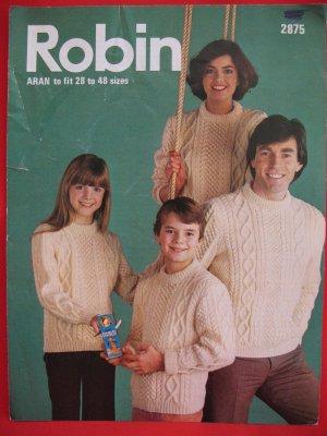 Robin Vintage Aran Arran Knitting Patterns Adults Children Family Sweaters