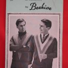 "Beehive Canadiana Wool Vintage Knitting Patterns Mens V Neck Pullover Sweater 36"" - 42"""