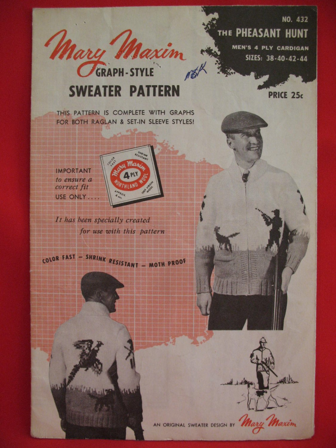 Mary Maxim Cardigan Sweater Vintage 1955 Knitting Patterns Mens Pheasant Hunting