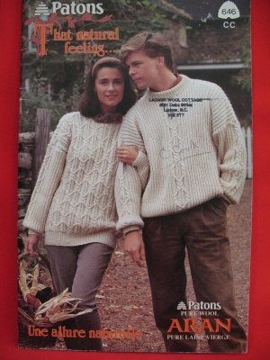 Patons Aran Arran Knitting Patterns ADULTS Sizes Cardigans Sweaters Pullovers