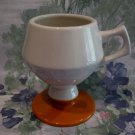 Butterscotch and Beige Pedestal Coffee Mug Vintage HALL Mug Cup