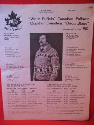 White Buffalo Wool Cowichan Style Vintage Knitting Patterns MENS ADULTS Pullover Sweater