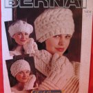 Bernat Irish Knitting Patterns ADULTS Tam Beret Headband Hat Mittens