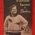 Vintage Chieftain Beehive Knitting Pattern Football Sweater Teenagers SIZE 14, 16, 18