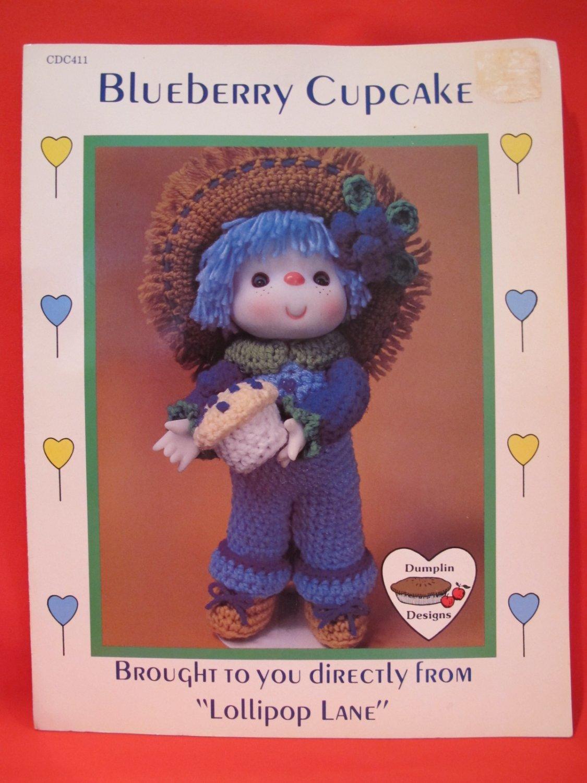 Vintage Blueberry Cupcake Doll Crochet Pattern Lollipop Lane Crocheting
