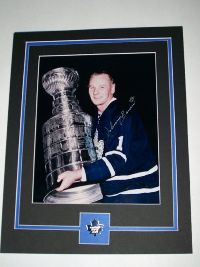 JOHNNY BOWER AUTOGRAPHED 8X10 FULLY MATTED W/ STANLEY CUP