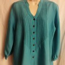 Van Heusen Med Linen Top Teal button down 3/4 sleeve