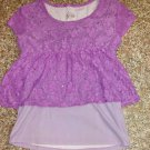 Justice Girls Layered Top Purple with Lace 10 12