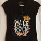 Faded Glory Girls Black Rock n Peace T-Shirt 10/12