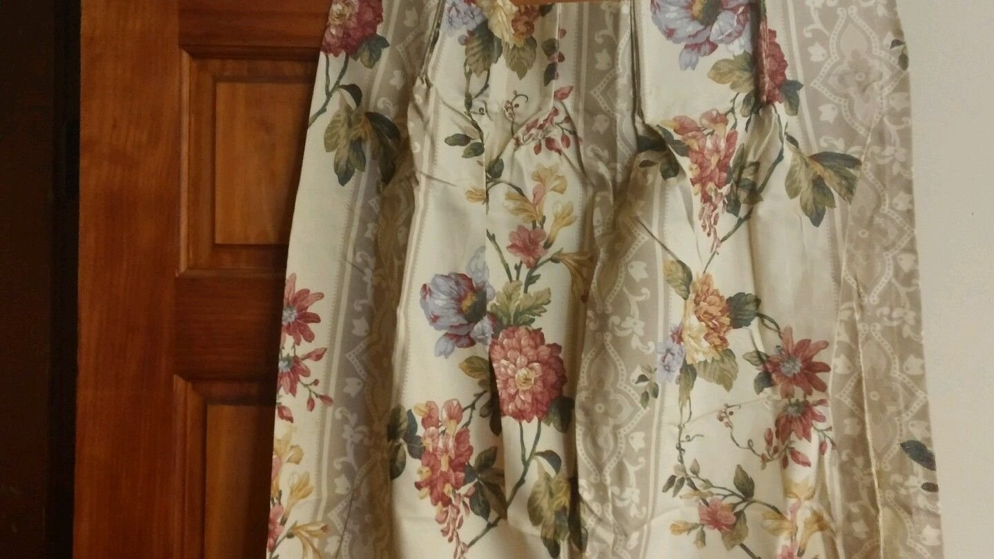 """Ivory floral pinch pleat Drapes pair NEW 48"""" x 84"""""""