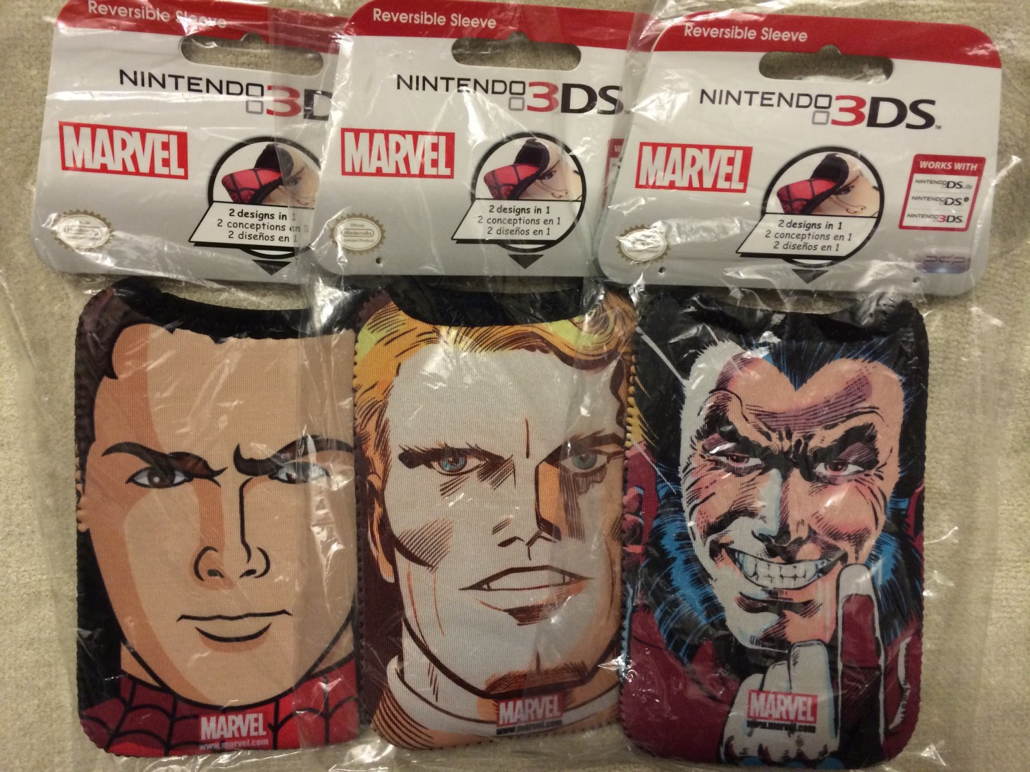 SDCC 2014 Marvel Exclusive NINTENDO 3DS Reversible Sleeve Cases