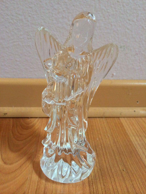 Waterford Crystal Nativity Angel Figurine with Harp, 1994