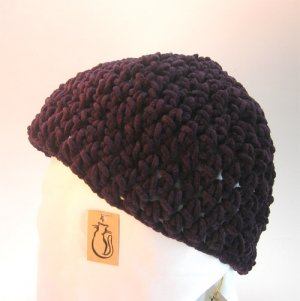 Purple Suede Crocheted Hat