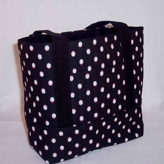 MIni Tote in Black and White dots
