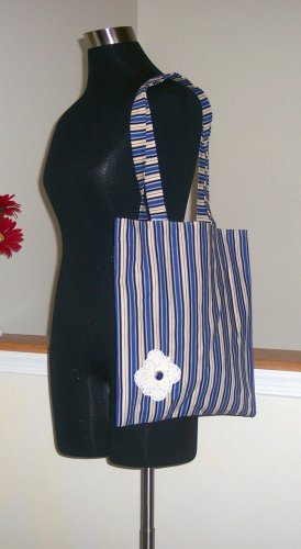 Magazine Tote in Cream and Blue Stripes