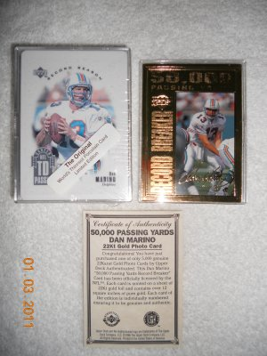 Dan Marino 22kt Gold card from Upper Deck + bonus limited edition card