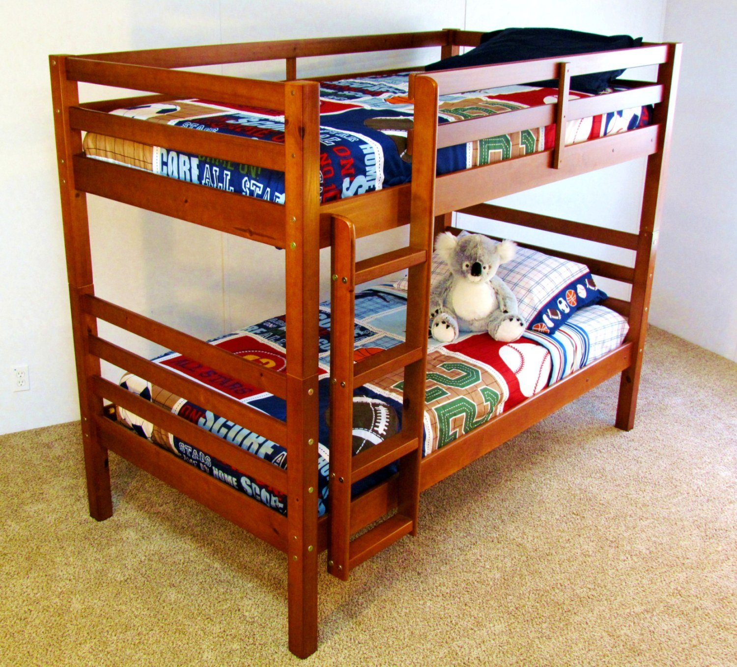 """Twin over Twin Solid Wood Bunk Bed """"The Boomerang"""" FREE"""