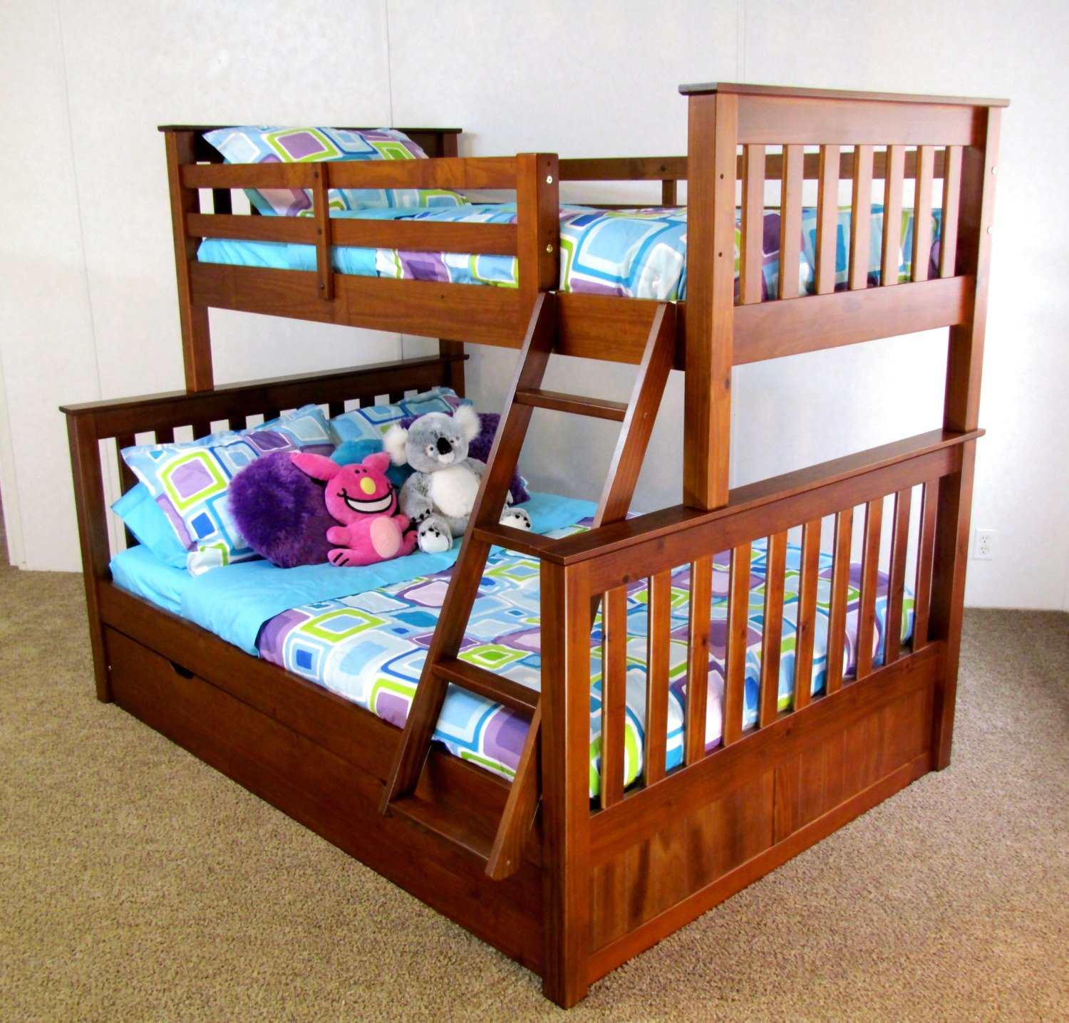 Twin Over Full Bunk Bed Trundle Solid Wood Free Shipping