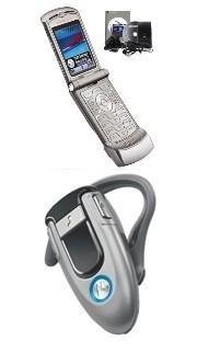 Motorola V3 Razr Silver (Unlocked) + Motorola Bluetooth Headset H500 Combo