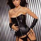 Leather zip front corset