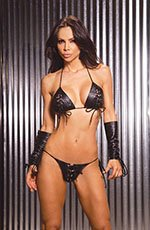 Leather lace up bra & G-string
