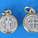 St. Benedict Round Medal with Gold Trim M-221