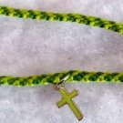 Light & Dark Green Cross Charm Bracelet