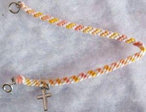 Pink, Yellow & White Cross Charm Bracelet