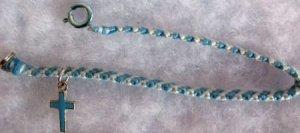 Light And Dark Blue Cross Charm Bracelet