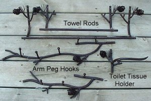 "Handcrafted Iron Lodge Pinecone Bathroom 24"" Towel Bar"