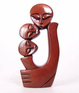 "Shona ""The Family of 3"" Red River Clay Sculpture ~Zim!"