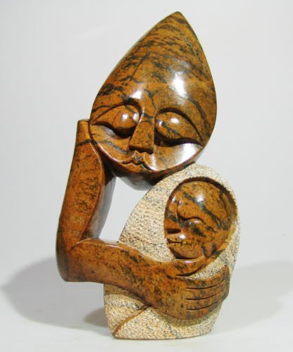 """Mother & Child"" Serpentine Sculpture by Cuth Zimbabwe!"