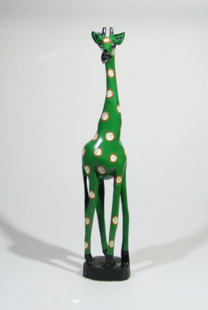 African Giraffe Wood Carving - Hand-painted Shona Art from Zimbabwe!