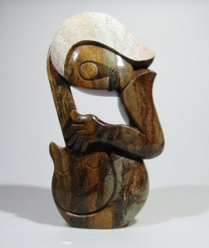 """""""Guitar Player"""" Serpentine Shona Stone Sculpture by Cuth Hand Carved in Zimbabwe"""