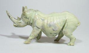 "Butter Jade ""African Rhino"" Shona Art Stone Sculpture, Handmade from Zimbabwe!"