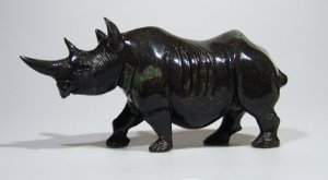 """African Rhino"" Cobalt Stone Shona Art Sculpture, Hand Carved in Zimbabwe!"