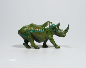 """The African Rhino"" Magical Verdite Shona Stone Sculpture Handmade in Zimbabwe!"