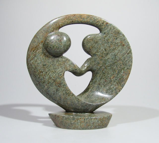 Quot lovers embrace serpentine shona stone sculpture hand