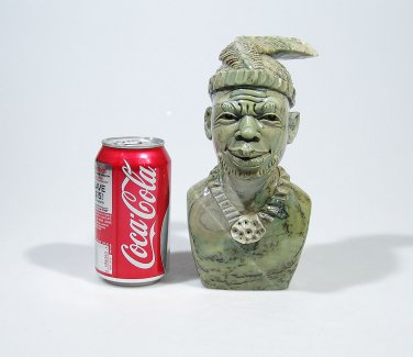 """""""Smiling Shona Chief"""" Hand Carved Butter Jade Art Stone Sculpture from Zimbabwe!"""