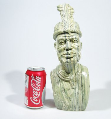 """Shona Chief"" Hand Carved Butter Jade Art Stone Sculpture from Zimbabwe!"
