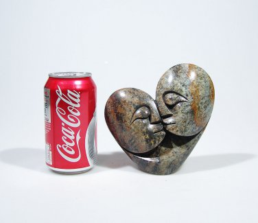 """Two Lovers"" Serpentine Shona Stone Sculpture by Cuth Hand Carved in Zimbabwe!"
